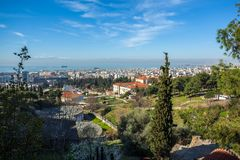 10 03 2018 Thessaloniki, Греция - панорамный взгляд Thessaloniki Стоковые Фотографии RF