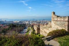 10 03 2018 Thessaloniki, Греция - панорамный взгляд Thessaloniki Стоковое Изображение