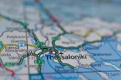 Thessaloniki на карте Стоковое Изображение RF