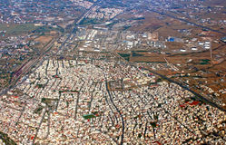 Thessaloniki from the airplane, Greece Stock Image