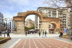 Thessaloniki Arch of Galerius. THESSALONIKI, GREECE - March 17.2016: Medieval Arch Galerius in the old city preserved until today. The arch was built in 298 to royalty free stock photo