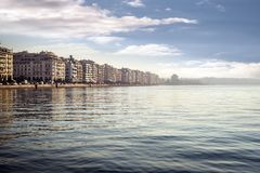 Thessaloniki City on a foggy morning Stock Photos