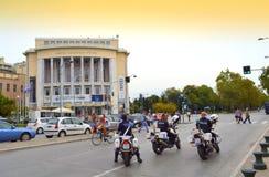Thessaloniki de straat van de motorpolitie Stock Foto's