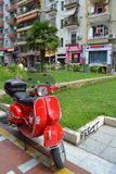 Thessaloniki downtown red scooter  Royalty Free Stock Photos