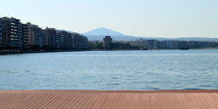Thessaloniki embankment. And skyline in the morning, View from the dock of the old port Royalty Free Stock Photos