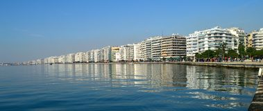 Thessaloniki embankment. And skyline reflected in the water Royalty Free Stock Photos