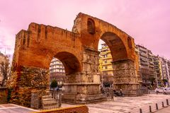 Thessaloniki Galerius Arch 01. Thessaloniki Arch of Galerius Side Viewpoint with Cloudy Sky at Wintertime stock image