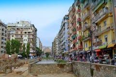 Thessaloniki gata Grekland Fotografering för Bildbyråer