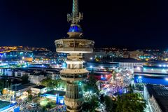 Aerial view of the tower of OTE and the international exhibition. Thessaloniki, Greece – Sept 17, 2017: Aerial view of the tower of OTE and the royalty free stock photo