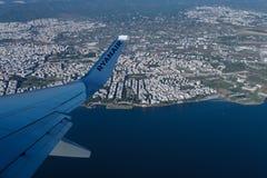 Thessaloniki, Greece aerial view from Ryanair aircraft. Stock Photos