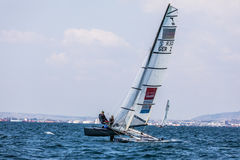 Athletes yachts in action during 2017 Tornado Open World, Globa Stock Photography