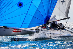 Athletes yachts in action during 2017 Tornado Open World, Globa Royalty Free Stock Images