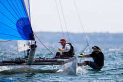 Athletes yachts in action during 2017 Tornado Open World, Globa Royalty Free Stock Photos