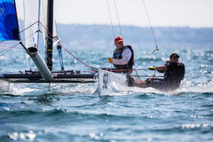 Athletes yachts in action during 2017 Tornado Open World, Globa Stock Photos