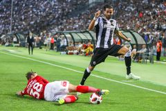 UEFA Champions League Third qualifying round , between PAOK vs. Thessaloniki, Greece - August 8, 2018: Player of PAOK Jose CrespoR and of Spartak EschenkoL in stock images