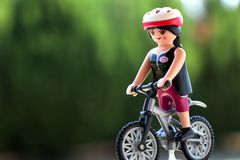 Thessaloniki, Greece - August 14 2018: Playmobil Cyclist Figure Isolated royalty free stock photos