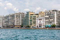 View of Thessaloniki from the sea. Buildings, hotels and restaurants in Nikis Avenue. Niki royalty free stock image