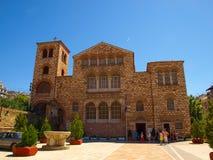 Thessaloniki, Greece - The byzantine church of Agios Dimitrios. Thessaloniki, Greece - Tourists visiting the byzantine church of Agios Dimitrios royalty free stock images