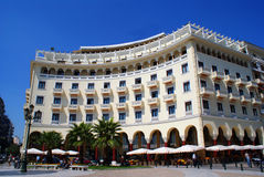 Thessaloniki Greece city center. A building in Aristotelous plaza, Thessaloniki Greece stock photo