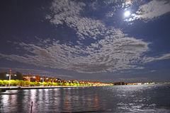 Thessaloniki Greece City seaside by night. New sea front of city, summer night, city lights royalty free stock image