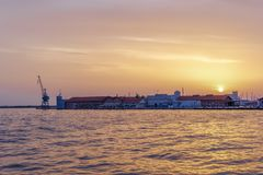 Thessaloniki, Greece golden hour sunset at the city port. royalty free stock image