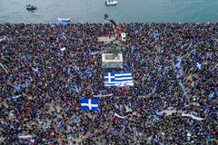 Thousands of people protest against any Greek compromise on the. Thessaloniki, Greece - January 21, 2018:Thousands of people protest against any Greek compromise Royalty Free Stock Images