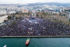 Thousands of people protest against any Greek compromise on the. Thessaloniki, Greece - January 21, 2018:Thousands of people protest against any Greek compromise Royalty Free Stock Image