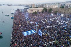 Thousands of people protest against any Greek compromise on the. Thessaloniki, Greece - January 21, 2018:Thousands of people protest against any Greek compromise Stock Photo