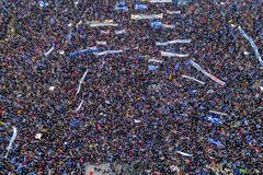 Thousands of people protest against any Greek compromise on the. Thessaloniki, Greece - January 21, 2018:Thousands of people protest against any Greek compromise Stock Photos