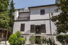 Ataturk Residence where Mustafa Kemal Ataturk was born. Thessaloniki, Greece - July 22, 2018: Exterior view of Ataturk Residence where Mustafa Kemal Ataturk royalty free stock photo