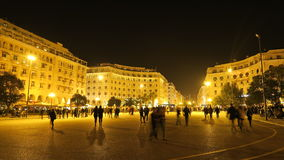 Thessaloniki, Greece at night. Aristotelous main square at night, with people royalty free stock photo