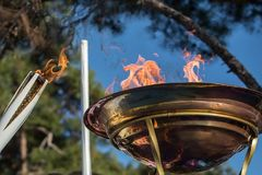 Winter Olympics torch relay arrived in Thessaloniki. Thessaloniki, Greece, Oct  27, 2017:Winter Olympics torch relay arrived in Thessaloniki. The flame was born Royalty Free Stock Images