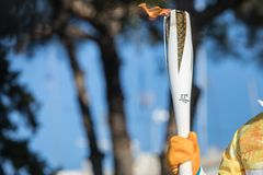 Winter Olympics torch relay arrived in Thessaloniki. Thessaloniki, Greece, Oct  27, 2017:Winter Olympics torch relay arrived in Thessaloniki. The flame was born Stock Images