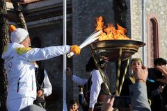 Winter Olympics torch relay arrived in Thessaloniki. Thessaloniki, Greece, Oct  27, 2017:Winter Olympics torch relay arrived in Thessaloniki. The flame was born Royalty Free Stock Photography