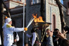 Winter Olympics torch relay arrived in Thessaloniki Stock Photos