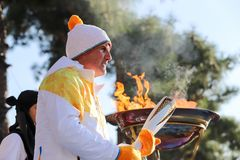 Winter Olympics torch relay arrived in Thessaloniki Royalty Free Stock Photo