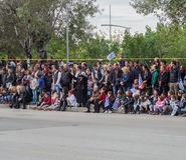Thessaloniki, Greece - 28 October 2016: Oxi Day Greek Army parade crowd. Royalty Free Stock Photo