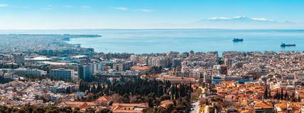 10.03.2018 Thessaloniki, Greece - Panoramic View of Thessaloniki. City, the sea and the olympous mountain stock photo