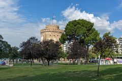 Amazing view of White Tower in city of Thessaloniki, Central Macedonia, Greece Royalty Free Stock Photos