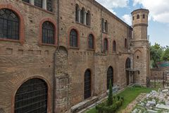 Ancient Byzantine Orthodox Hagia Sophia Cathedral in the center of city of Thessaloniki. THESSALONIKI, GREECE - SEPTEMBER 30, 2017: Ancient Byzantine Orthodox stock photography