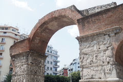 Thessaloniki, Greece - September 04 2016: The Arch of Galerius Emperor view. Only three of the eight pillars and parts of the arches survive today royalty free stock photos