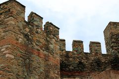 Fragment of Byzantine fortress walls royalty free stock image
