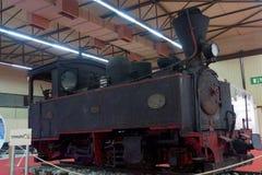 Thessaloniki, Greece - September 12 2016: Greek trains steam engine exhibit. Part of an exhibition inside 81st Thessaloniki International Fair. Thessaloniki Stock Photo