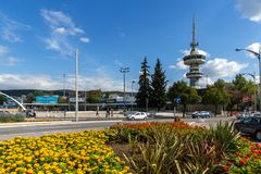 OTE Tower and flowers in front in city of Thessaloniki, Central Macedonia, Greece Stock Photography
