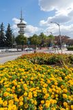 OTE Tower and flowers in front in city of Thessaloniki, Central Macedonia, Greece Stock Photos
