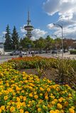 OTE Tower and flowers in front in city of Thessaloniki, Central Macedonia, Greece Royalty Free Stock Photo