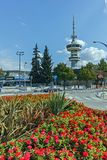 THESSALONIKI, GREECE - SEPTEMBER 30, 2017: OTE Tower and flowers in front in city of Thessaloniki, Greece Stock Photos