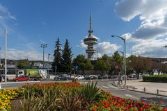 OTE Tower and flowers in front in city of Thessaloniki, Central Macedonia, Greece Royalty Free Stock Photos