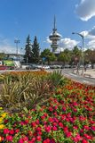 OTE Tower and flowers in front in city of Thessaloniki, Central Macedonia, Greece Stock Image