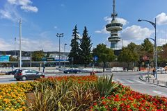 THESSALONIKI, GREECE - SEPTEMBER 30, 2017: OTE Tower and flowers in front in city of Thessaloniki, Greece. THESSALONIKI, GREECE - SEPTEMBER 30, 2017: OTE Tower stock photo